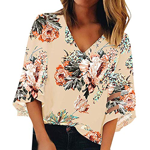 Floral Shirts for Women Short Sleeve,Women V Neck Print Mesh Panel 3/4 Bell Sleeve Loose Top Shirt Khaki