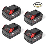 jolege [4 Packs]18V 5.0Ah Replacement for Milwaukee M18 Battery M18B 48-11-1820 48-11-185048-11-1828 48-11-10 Cordless Power Tools