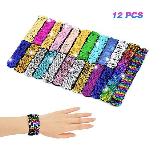 Racol Mermaid Slap Bracelet for Kids Girls Boys,12 Pack Two-color Decorative Reversible Charm Sequins Flip Wristband Bracelet for Birthday Party Favors Christmas Gifts ()