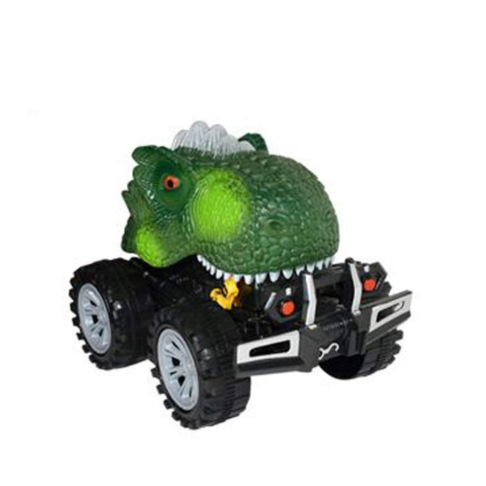 Generic Dinosaur Model Mini Toy Car Back of The Car Gift Pull Back Car for Kids Inertial Collision Dinosaur Chariot Function Toy D7 Green