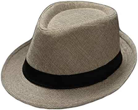 c1ae79d844556c Unisex Straw Fedora Sun Hat Panama Trilby Crushable Foldable Travel Cap  with Black Belt for Men