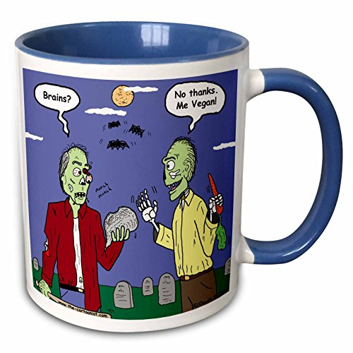 Vegan Halloween Cartoons (3dRose Rich Diesslins Funny General Cartoons - Halloween - Zombie Vegans - 11oz Two-Tone Blue Mug)
