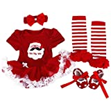 WINMI® Baby Girls' Newborn 1st Christmas Onesie Costume Outfits Tutu Dress 4PCs (M)