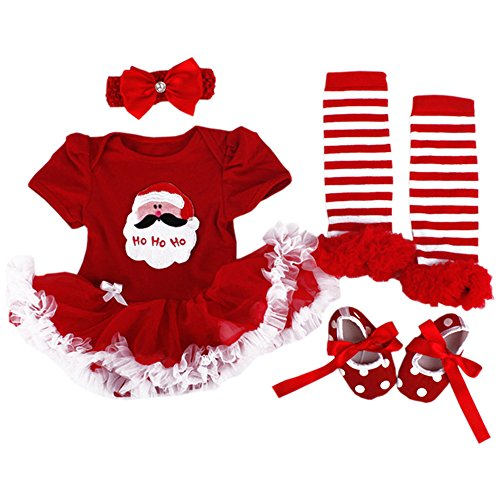 Santa Outfit For Baby (WINMI® Baby Girls' Newborn 1st Christmas Onesie Costume Outfits Tutu Dress 4PCs (L))