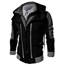 Men's Plus Size Casual/Daily Simple Hoodie Jacket Color Block Cotton Polyester Long Sleeve Winter