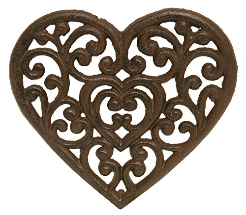 (Filigree Heart Shaped Love Trivet Kitchen Hot Plate Wall Decor Cast Iron 8 Inch)