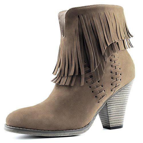 DailyShoes Women's Western Cowboy Double Fringe High Top Ankle High Heel Boot, 10 Taupe