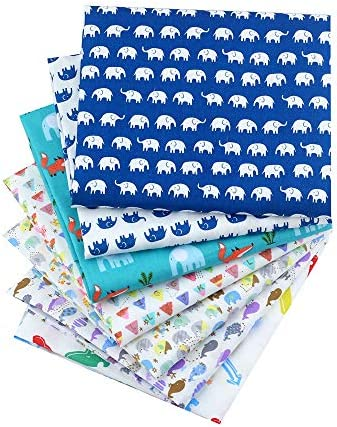 New Foral Series Cotton Fabric Quilting Patchwork Fabric Fat Quarter Bundles Fabric for Sewing DIY Crafts Handmade Bags 40X50cm 7pcs/lot (Fish&Elephant)