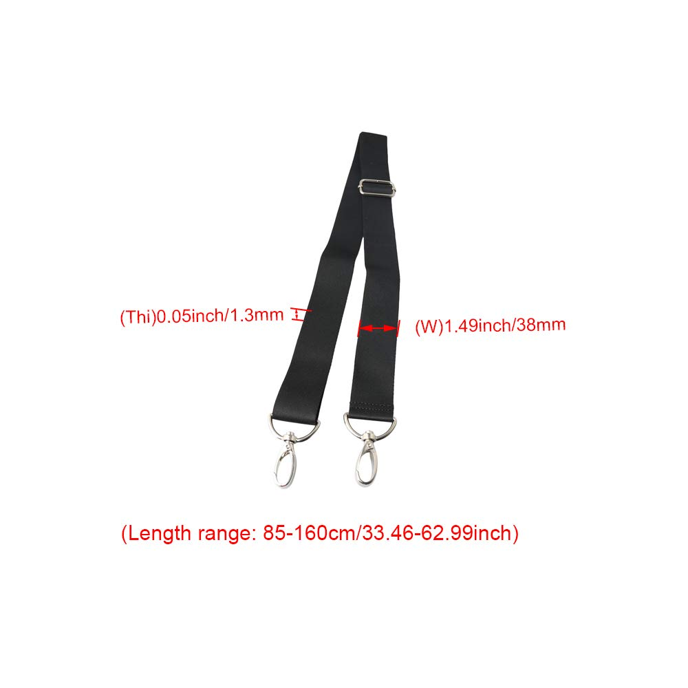 BQLZR 38MM Width Black Backpack Messenger Belt Shoulder Strap with Buckle for DIY Luggage Bag Strap