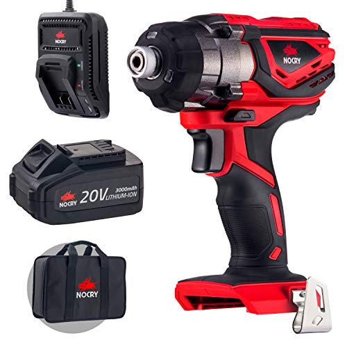 NoCry 20V Cordless Impact Driver Kit – With 120 ft-lb (160 N.m) Torque, 3000 Max RPM/IPM, 1/4in Hex Chuck; 3.0 Ah Battery, Fast Charger, Belt Clip & Case Included