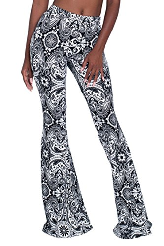 Pink Wind Lady High Waist Pant Traditional Floral Printed Floor Length Flares Pant Medium ()