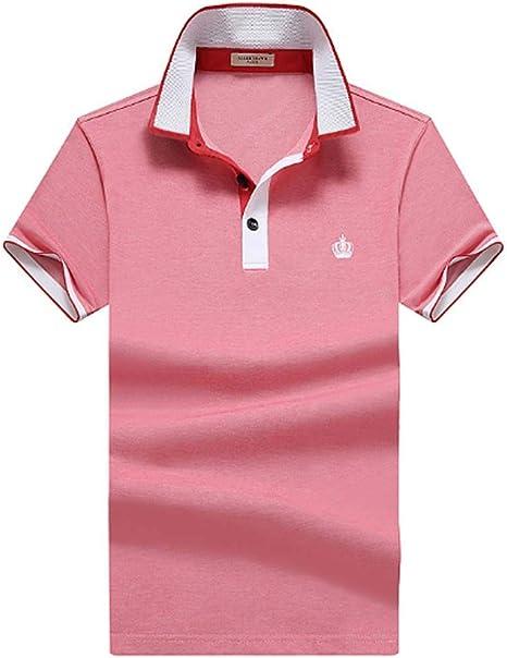 TMBDYE Camisa Polo para Hombre 2019 Verano Solapa Negocio Color sólido Delgado Seda algodón Cuatro Colores de Manga Corta Camiseta,Red,M: Amazon.es: Deportes y aire libre