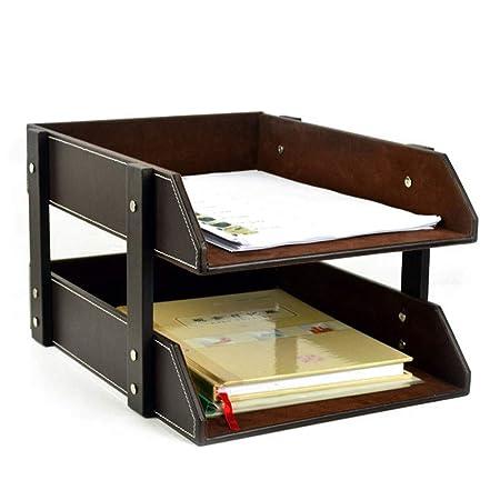 Vaxiuja-office Organizador de Archivos de Mesa de 2 Capas de Piel ...