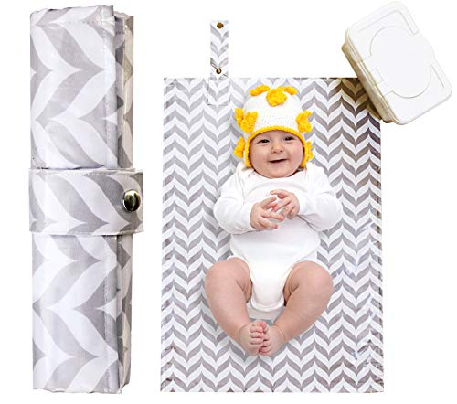 Portable Diaper Changing Pad - Waterproof, Wipeable, Washable -Compact Travel Mat for Infants and Toddlers, Large, Cushioned Quilted Padding - Grey Unisex Boy ()