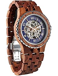 Wilds Wood Watches Premium Eco Self-Winding Wooden Wrist Watch For Men, Natural Durable Handcrafted Gift Idea...