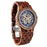 Wilds Wood Watches Premium Eco Self-Winding Wooden Wrist Watch For Men, Natural Durable Handcrafted Gift Idea for Him (Kosso)
