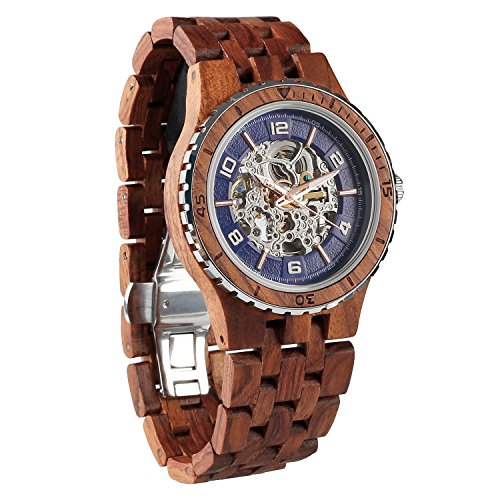 Wilds Wood Watches Premium Eco Self-Winding Wooden Wrist Watch For Men, Natural Durable Handcrafted Gift Idea for Him - Whiskey Sunglasses Barrel