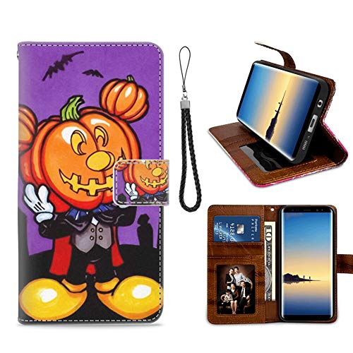 DISNEY COLLECTION Wallet Case with Kickstand for Samsung Galaxy S7 Edge (2016) 5.5 Version Free Mickey Mouse Halloween Screensaver Credit Card Slot]()