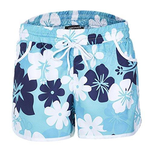 Yying Mujer Cintura Baja Shorts Cómodo Cintura Elástica Pantalón con Bolsillos Moda Estampado de Flores Casual Verano Pantalones Cortos Sueltos Shorts Azul Oscuro