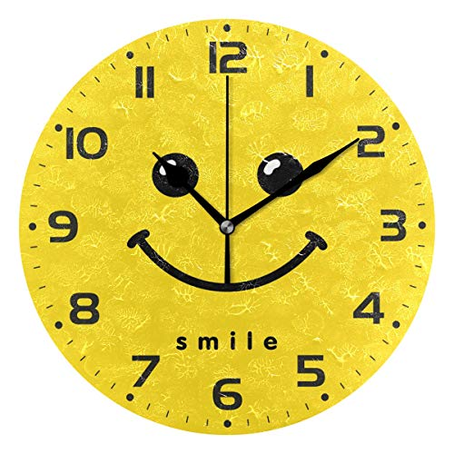 Naanle Smile Emoji Design Face Smiley Emoticon On Yellow Round/Square/Diamond Acrylic Wall Clock Oil Painting Home Office School Decorative Creative Dual Use Clock Art ()