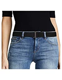 No Show Women Stretch Belt Invisible Elastic Web Strap Belt with Flat Buckle for Jeans Pants Dresses, Suit for US Size 0-16, 1-Black-Guncolor Buckle