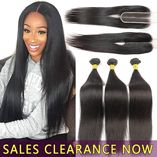 24 22 20 With 18 9A Human Hair 3 Bundles With 2x6 Lace Closure Deep Middle Part Best Brazilian Straight Virgin Hair Weave Indian Malaysian Remy Hair Extensions 6x2 Cheap Peruvian Natural Black Weft