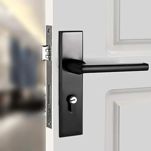 GZF Manillas para Puertas Cerradura de Puerta Negra con Cerradura ...