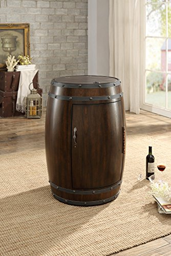 Homelegance Chardonnay Wine Cooler Barrel with Temperature Control, Dark Cherry ()
