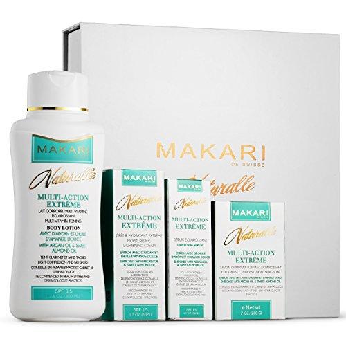 (Makari Naturalle Multi-Action Extreme Gift Set – Whitening & Moisturizing with Argan Oil & SPF 15 – Hydrating & Regulating Treatment for Dark Spots, Acne,)