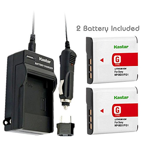 Kastar Battery (2-Pack) and Charger Kit for Sony NP-BG1, NP-FG1, BC-CSG and Sony Cyber-shot DSC-H50, Cyber-shot DSC-H10, Cyber-shot DSC-W120, Cyber-shot DSC-W170, Cyber-shot DSC-W300 Digital Cameras (Sony Camera Car Chargers)