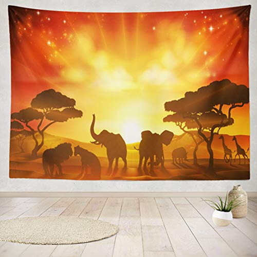(ASOCO Tapestry Wall Hanging African Safari Animal Silhouette Sunset Landscape Scene Safari African Wall Tapestry for Bedroom Living Room Tablecloth Dorm 80