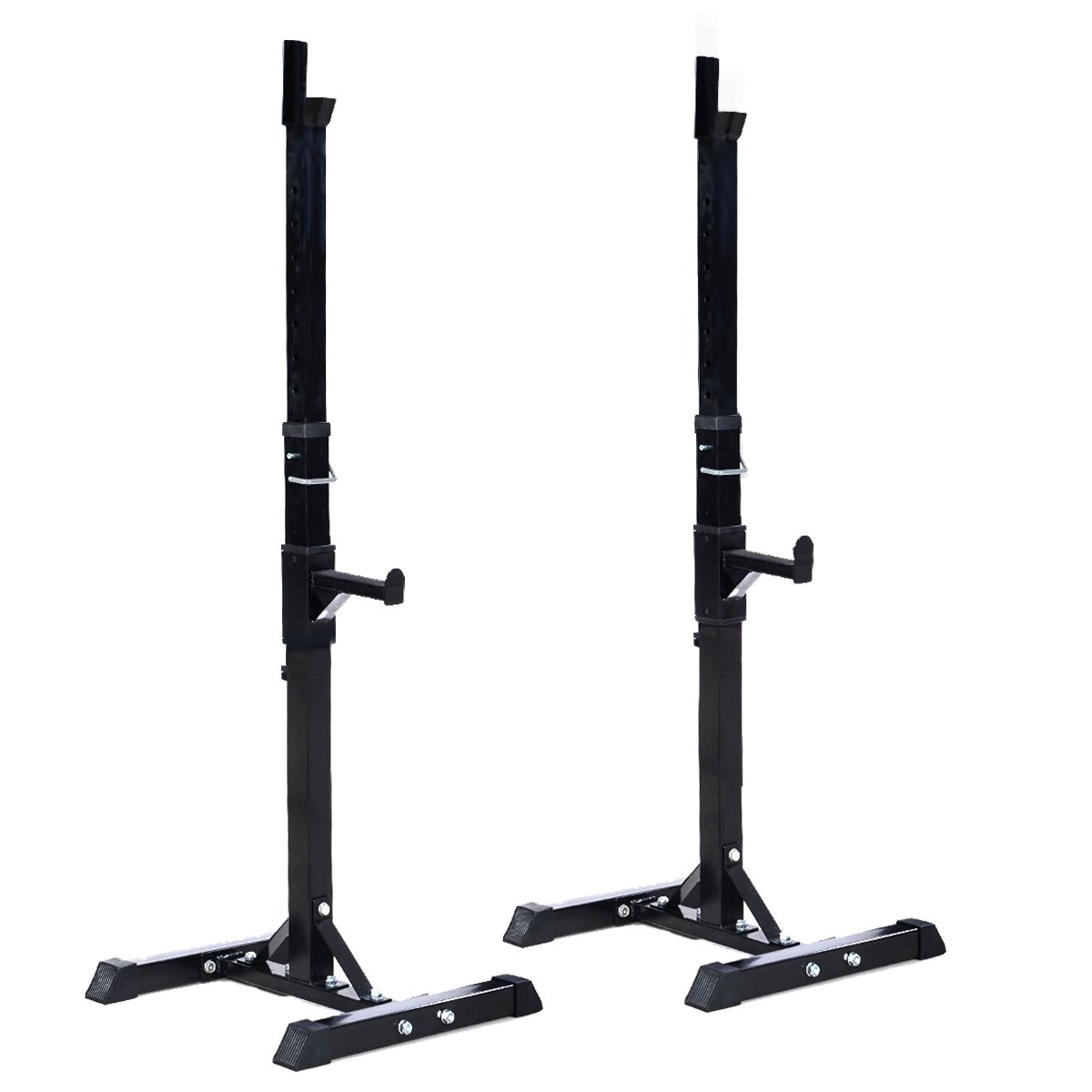 Goplus Pair of Adjustable Standard Squat Stands 42''- 67'' Rack Solid Steel Portable Barbell Dumbbell Power Rack Home Gym by Goplus