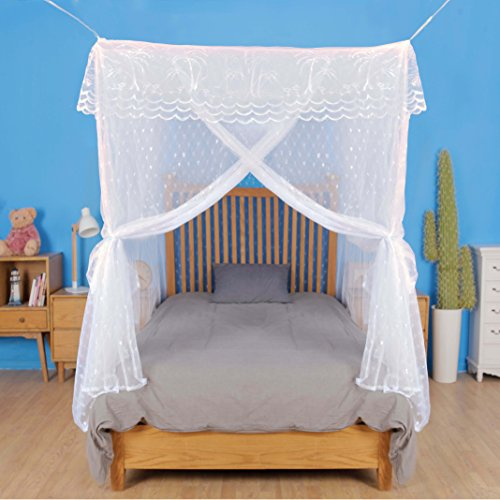 (Pacific Dreamer Artistic Mosquito Net Bed Canopy for Queen Size Beds, No Insecticide, with Heart-Shaped Pattern Strong Diamond Mesh, Three-Door, Bonus ebook/Hanging Kit/Storage Bag/User Guide Incl)