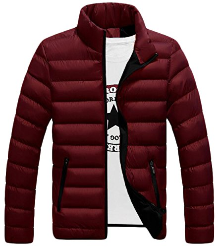 US Men's Jackets Winter Collar Red Fashion Stand Warm Down Zip Coat EKU XL PxFTgqdT