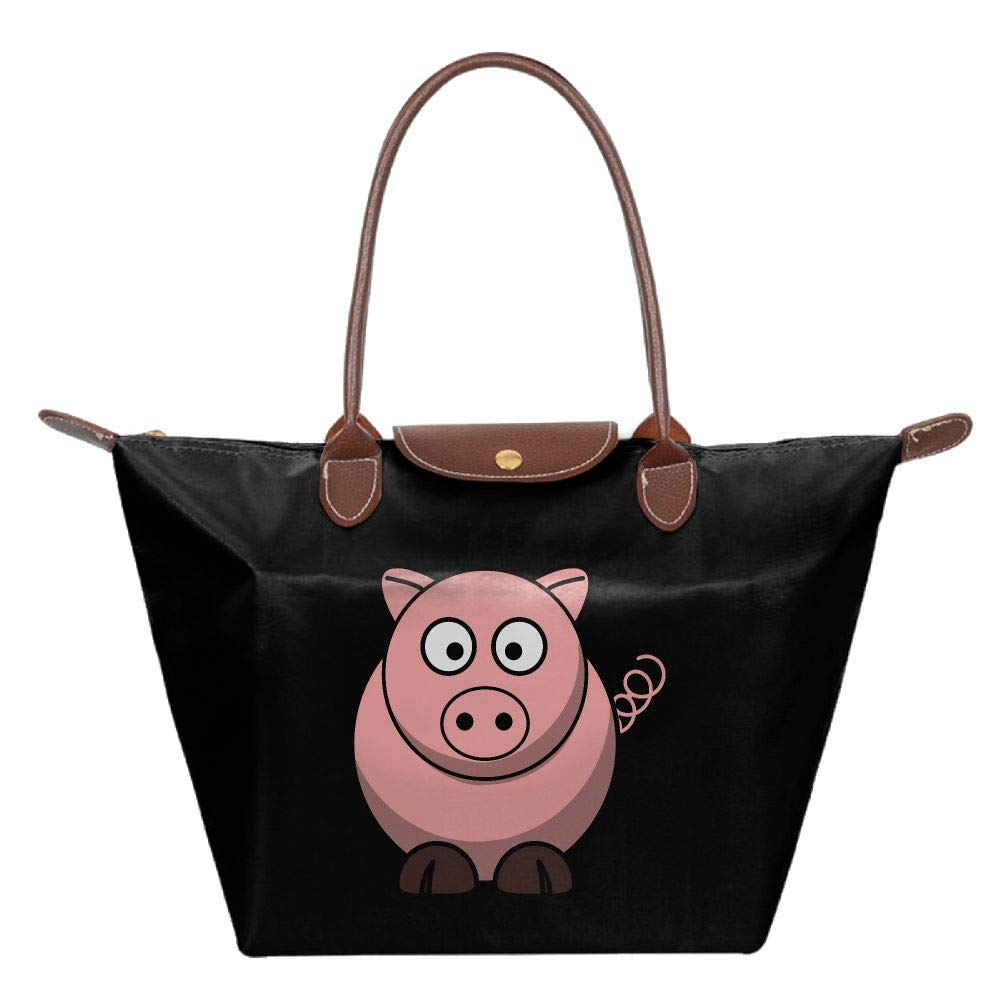 Black Cartoon Pig Women Handbags Organizer Casual Printing Waterproof Fold Tote Bag