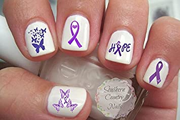 Amazon purple ribbon awareness nail art decals beauty purple ribbon awareness nail art decals prinsesfo Images