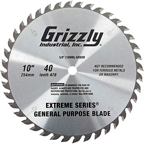 """Grizzly T26698 Extreme Series 10"""" x 5/8"""" 40t ATB .120"""" General Purpose Blade"""