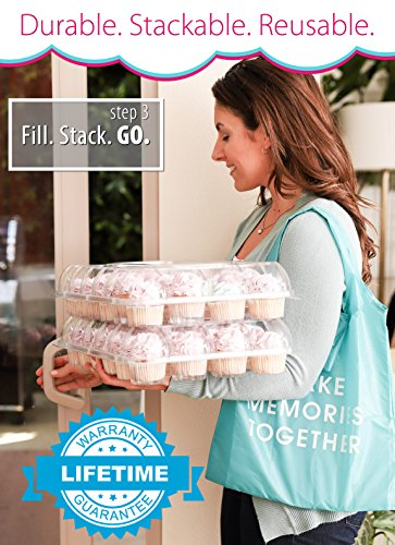 (6 Pack) Fill'nGo Carrier Holds 24 Standard Cupcakes - Ultra Sturdy Cupcake Boxes | Tall Dome Detachable Lid | Clear Plastic Disposable Containers | Storage Tray | Travel Holder | Also Regular Muffins by Cakes of Eden (Image #4)