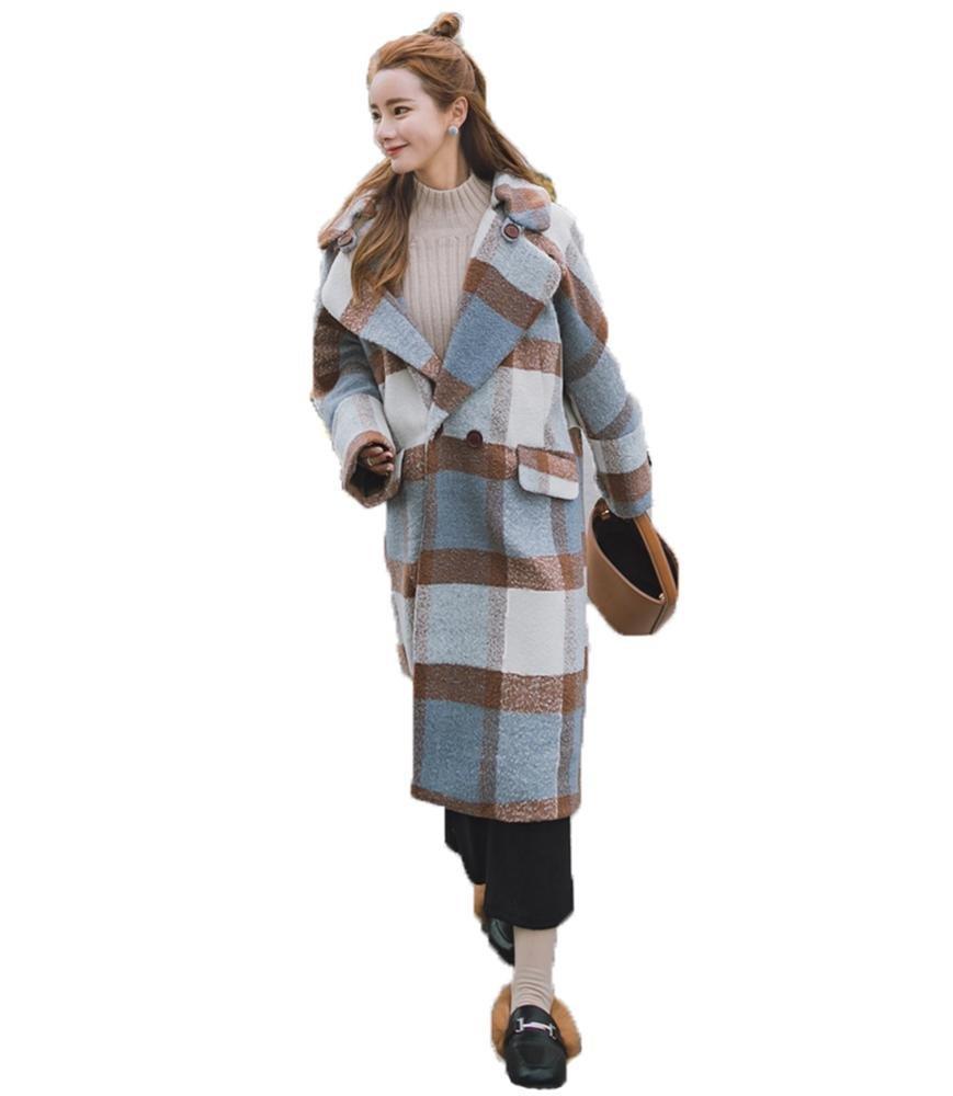 mujer invierno tartán muletón sobretodo señoras vendimia largo ropa de calle, S-XL