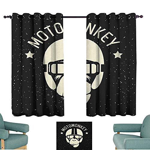 WinfreyDecor Outer Space Simple Curtain Sign Alien Monkey with Astronaut Costume in a Galaxy with Stars Poster 70%-80% Light Shading, 2 Panels,63
