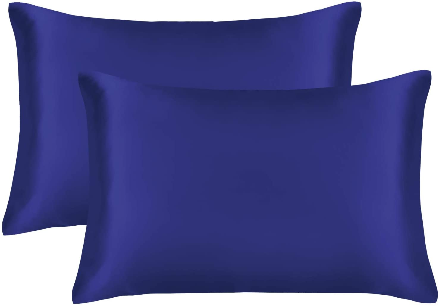 EXQ Home Satin Pillowcase for Hair and Skin,Cooling Pillow Cases King Size Pillow Case Set of 2 Satin Pillow Covers with Envelope Closure Navy Blue (King)