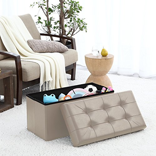 Contemporary Faux Leather Ottoman - 9
