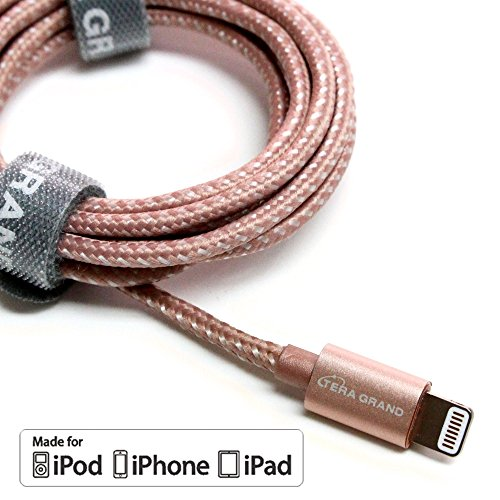 [Apple MFi Certified] Tera Grand Lightning to USB Braided Cable with Aluminum Housing 4 Ft Rose Gold iPhone X 8 8 Plus 7 6 Plus 6 5s 5c 5 iPad Air 1/2 Mini 1/2/3 iPad 4th gen iPod 5th gen iPod nano
