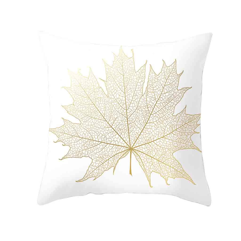 Pet1997 Golden Leaf Hug Pillowcase, Gold Plant Printed Polyester Pillow Case Cover, Sofa Cushion Cover, Home Decor, Luxury Bedding,18 X18 Inch (B)