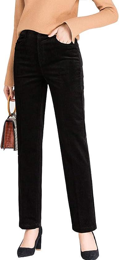 Amazon Com Duyang Pantalones De Pana Para Mujer Estilo Vintage Cintura Alta Corte Recto Clothing