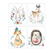 Holmkell Set of 4 Nursery Woodland Animals Prints, Baby Kids Room Unframed Wall Art, Forest & Nature Themed. Rabbit Deer Fox and Hedgehog Watercolor Style Pictures