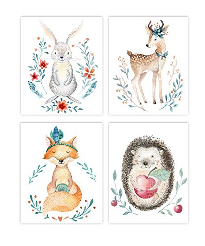 Holmkell Set of 4 Nursery Woodland Animals Prints Baby Kids Room Unframed Wall Art Forest amp Nature Themed Rabbit Deer Fox and Hedgehog Watercolor Style Pictures
