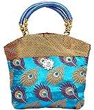 Kuber Industries™ Women Mini Handbag 10 * 10 Inches in Stylish Design With Fancy Brocade (Sky.