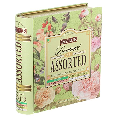 (Tea Book Collection - Premium Green Tea Bouquet Assorted - 32 tea bags)