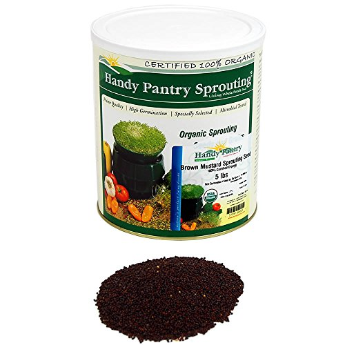 Organic Non-GMO Brown Mustard Sprouting Seeds - 5 Lbs - Resealable Can - Handy Pantry Brand - Growing Sprouts, Food Storage & More by Handy Pantry